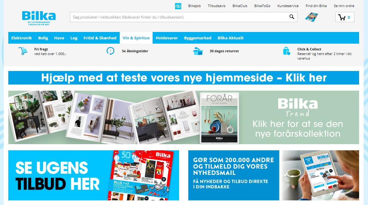 """Forsiden af det nuværende bilka.dk, som viser, at linket """"Hjælp med at teste vores nye hjemmeside - Klik her"""" er noget af det allerførste, man møder på siden."""