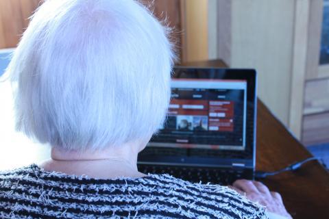 Ældre kvinde ved PC
