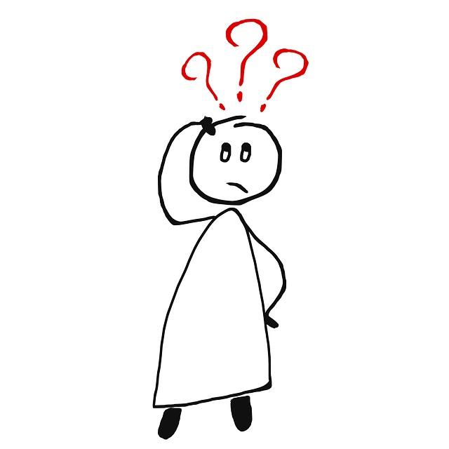 Tegnet figur klør sig i tindingen. Tre røde spørgsmålstegn over hovedet. Figuren spørger sig selv: Er digital tilgængelighed fis i en hornlygte?